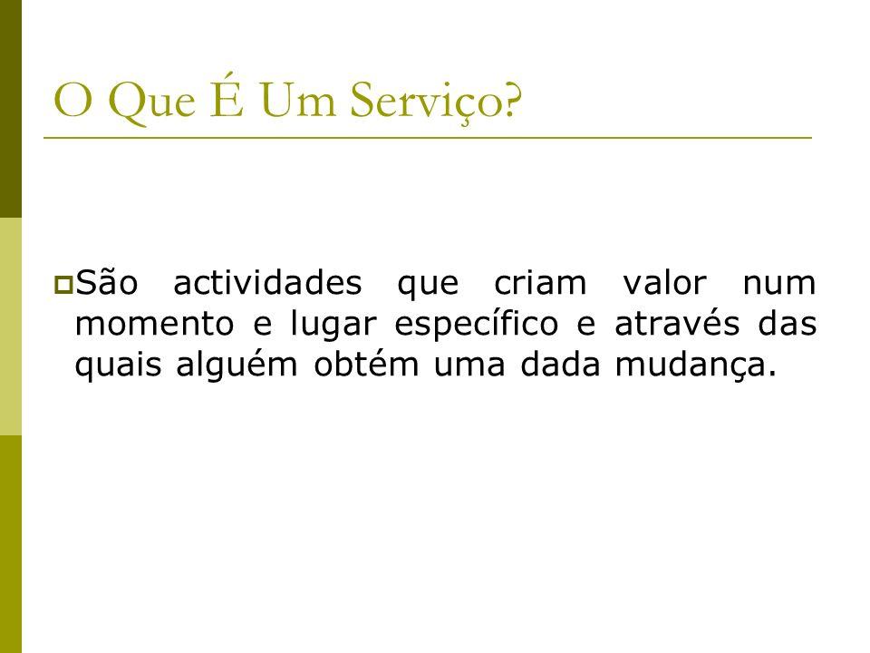 O Que É Um Serviço? São actividades que criam valor num momento e lugar específico e através das quais alguém obtém uma dada mudança.