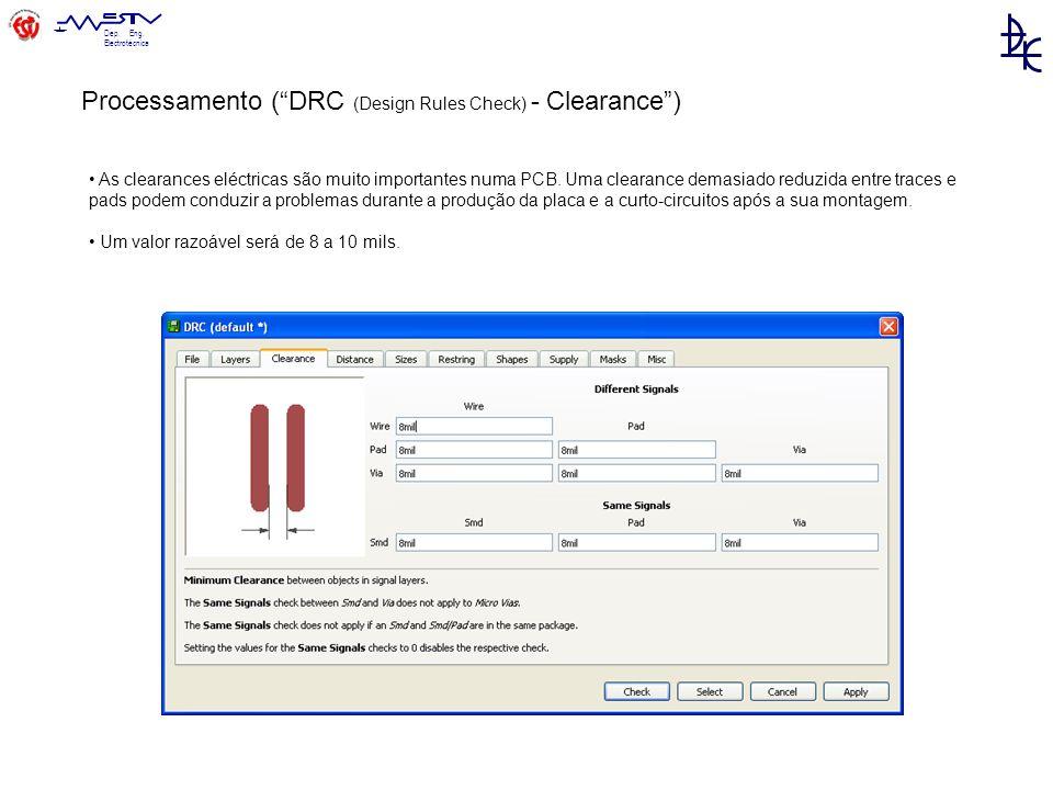 Dep.Eng. Electrotécnica As clearances eléctricas são muito importantes numa PCB.