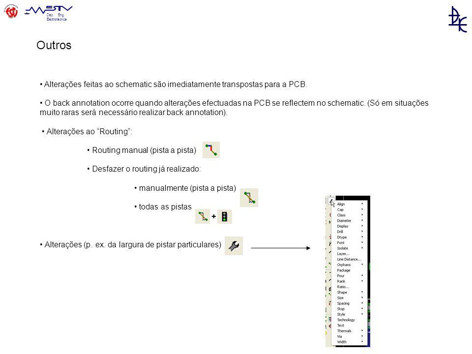Dep.Eng. Electrotécnica Alterações feitas ao schematic são imediatamente transpostas para a PCB.