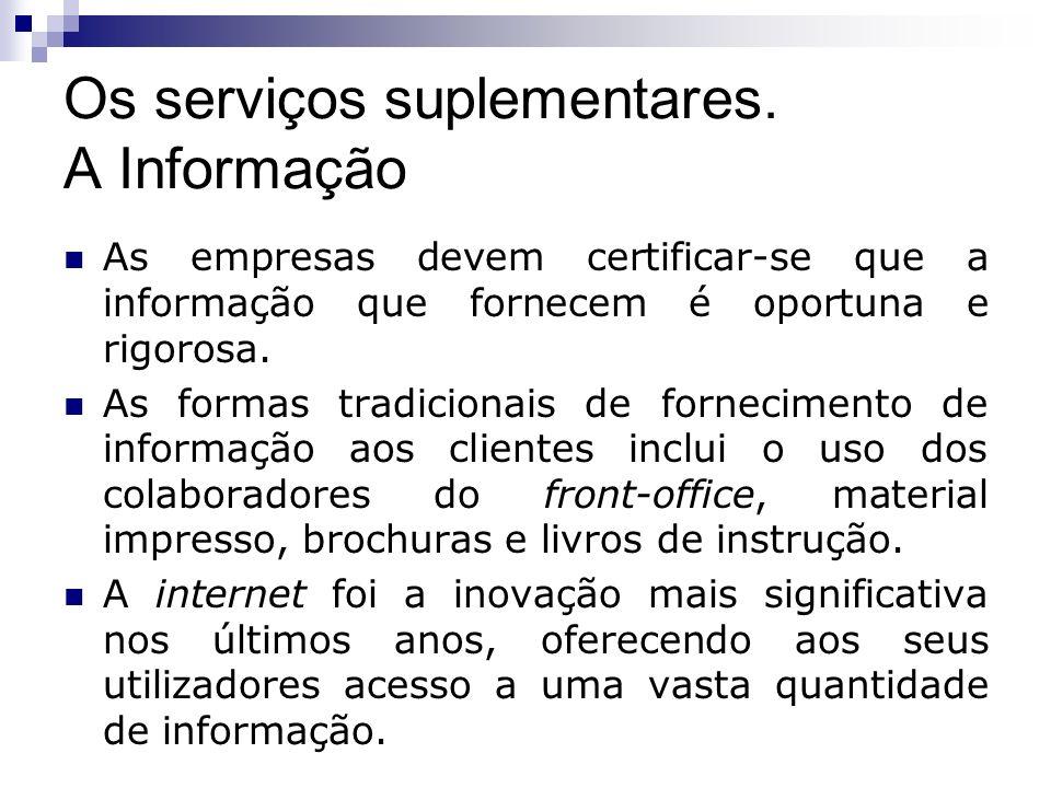 Os serviços suplementares. A Informação As empresas devem certificar-se que a informação que fornecem é oportuna e rigorosa. As formas tradicionais de