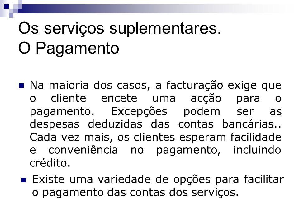 Os serviços suplementares. O Pagamento Na maioria dos casos, a facturação exige que o cliente encete uma acção para o pagamento. Excepções podem ser a