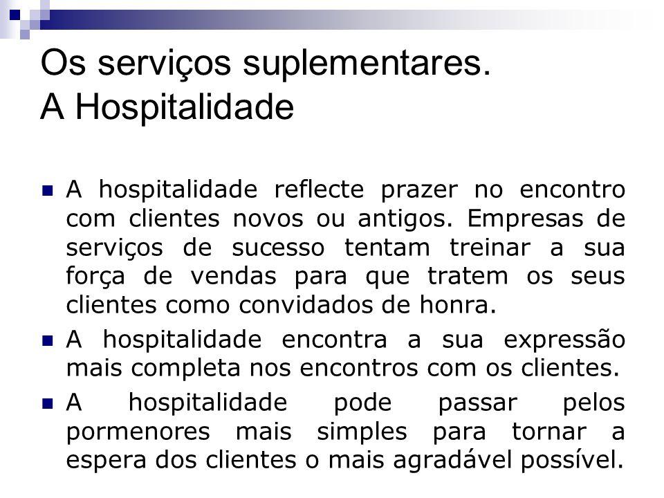 Os serviços suplementares. A Hospitalidade A hospitalidade reflecte prazer no encontro com clientes novos ou antigos. Empresas de serviços de sucesso