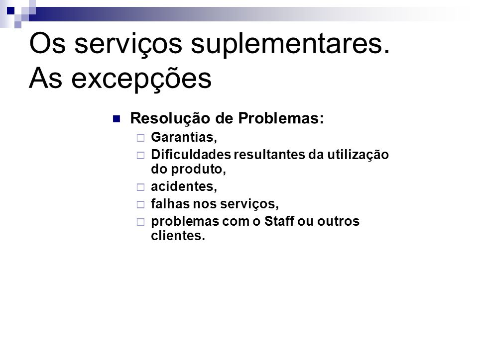 Resolução de Problemas: Garantias, Dificuldades resultantes da utilização do produto, acidentes, falhas nos serviços, problemas com o Staff ou outros