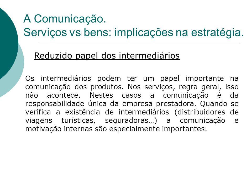 Os intermediários podem ter um papel importante na comunicação dos produtos. Nos serviços, regra geral, isso não acontece. Nestes casos a comunicação