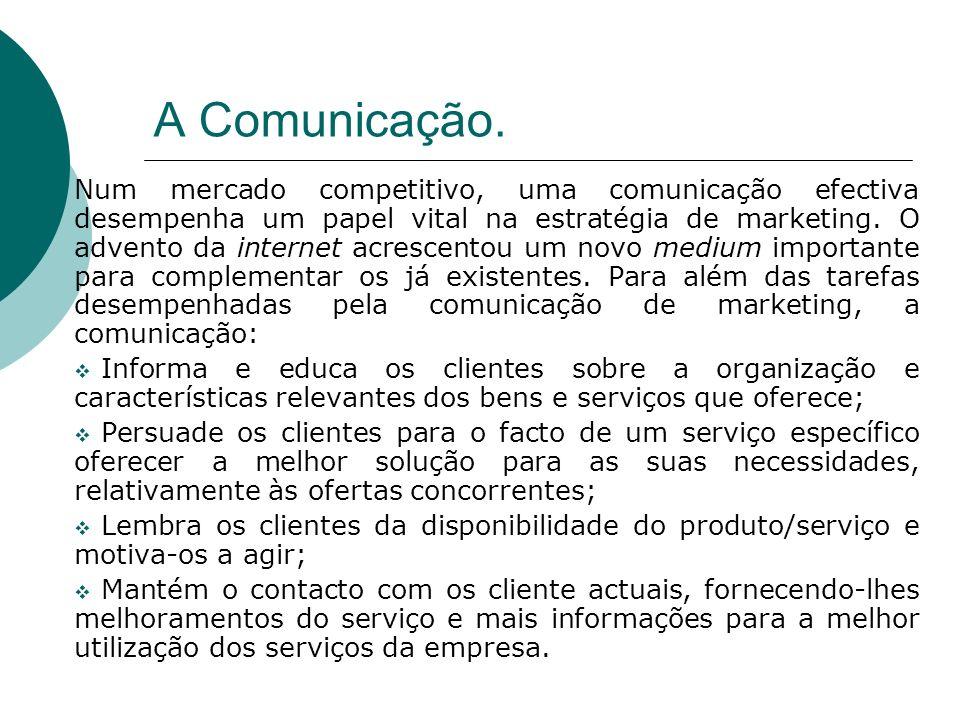 Num mercado competitivo, uma comunicação efectiva desempenha um papel vital na estratégia de marketing. O advento da internet acrescentou um novo medi