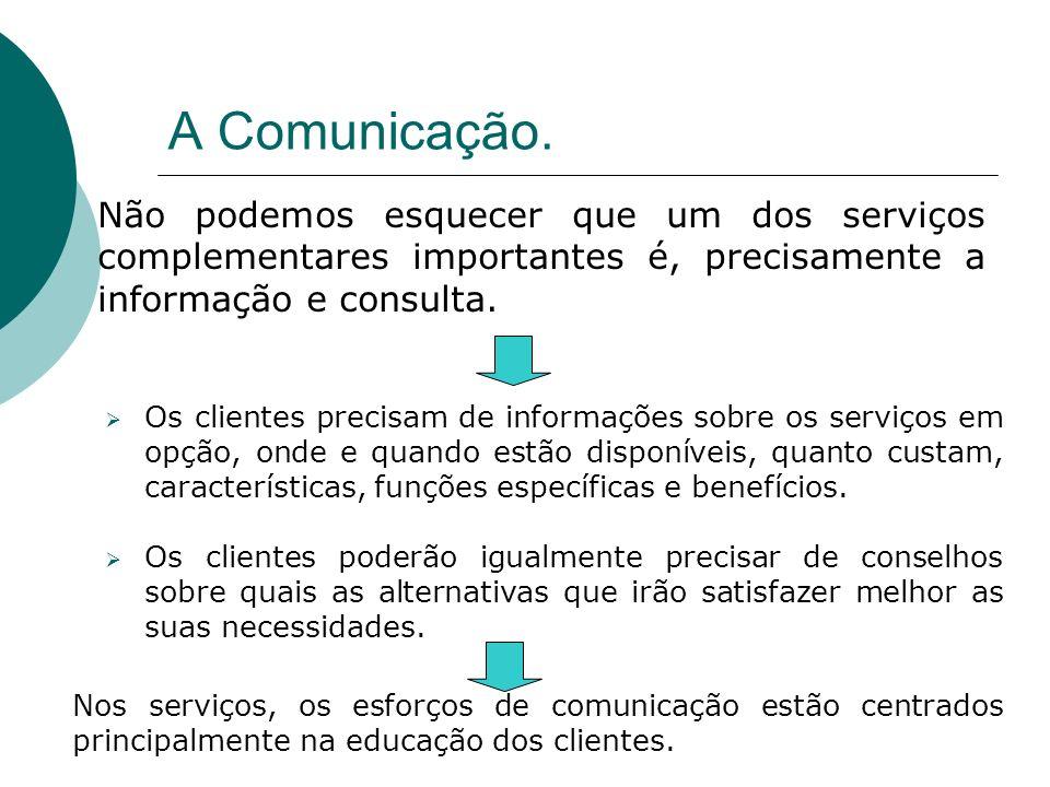 Não podemos esquecer que um dos serviços complementares importantes é, precisamente a informação e consulta. Os clientes precisam de informações sobre