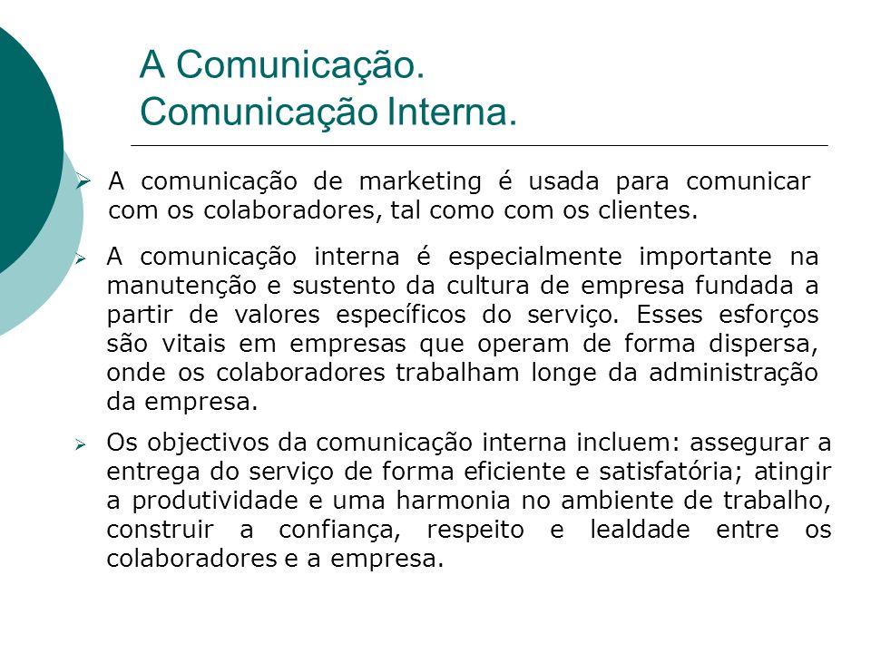A comunicação de marketing é usada para comunicar com os colaboradores, tal como com os clientes. A comunicação interna é especialmente importante na