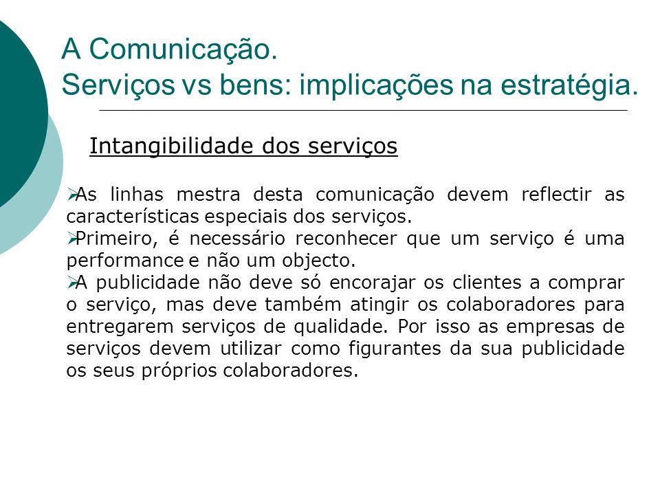 As linhas mestra desta comunicação devem reflectir as características especiais dos serviços. Primeiro, é necessário reconhecer que um serviço é uma p