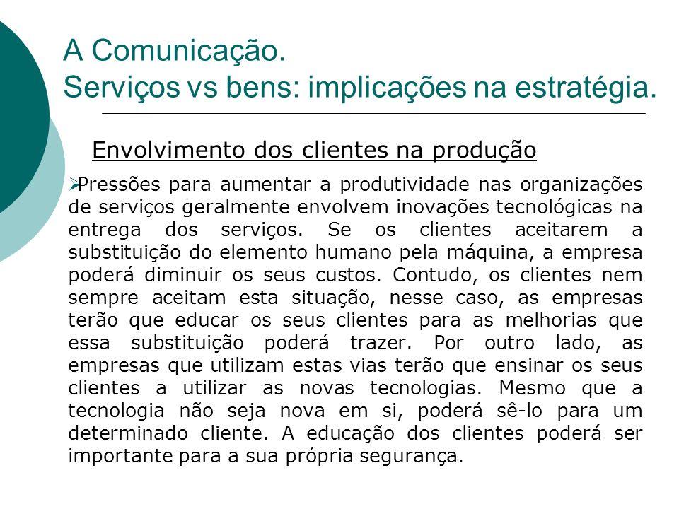 Pressões para aumentar a produtividade nas organizações de serviços geralmente envolvem inovações tecnológicas na entrega dos serviços. Se os clientes