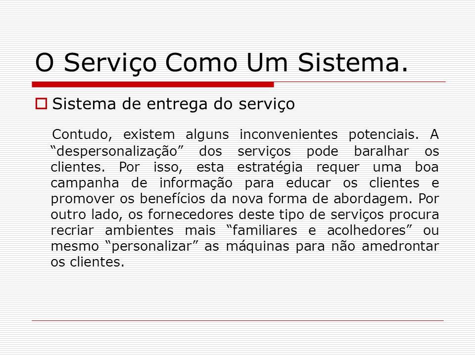 O Serviço Como Um Sistema. Sistema de entrega do serviço Contudo, existem alguns inconvenientes potenciais. A despersonalização dos serviços pode bara