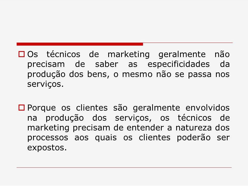 Os técnicos de marketing geralmente não precisam de saber as especificidades da produção dos bens, o mesmo não se passa nos serviços. Porque os client