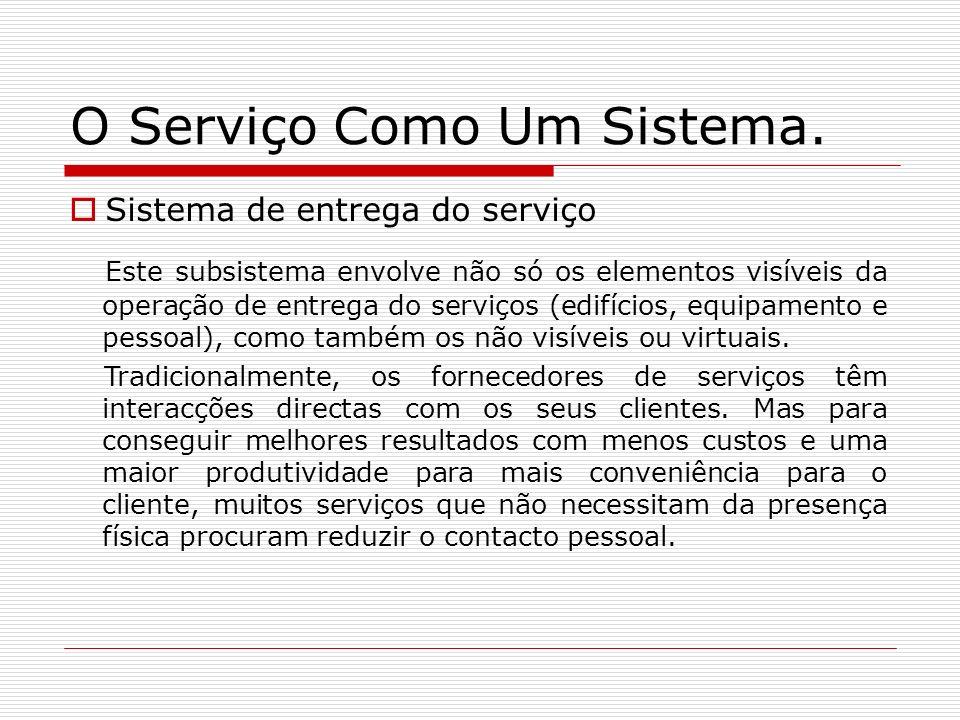 O Serviço Como Um Sistema. Sistema de entrega do serviço Este subsistema envolve não só os elementos visíveis da operação de entrega do serviços (edif