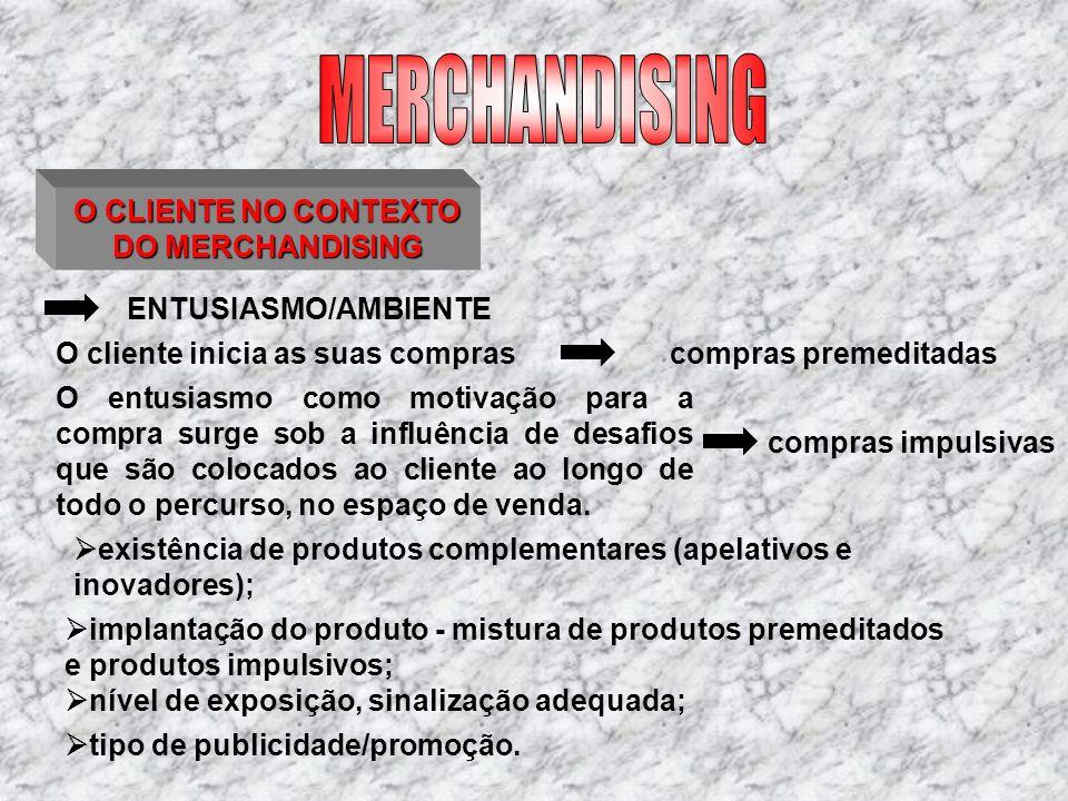 O CLIENTE NO CONTEXTO DO MERCHANDISING ENTUSIASMO/AMBIENTE O cliente inicia as suas compras existência de produtos complementares (apelativos e inovad
