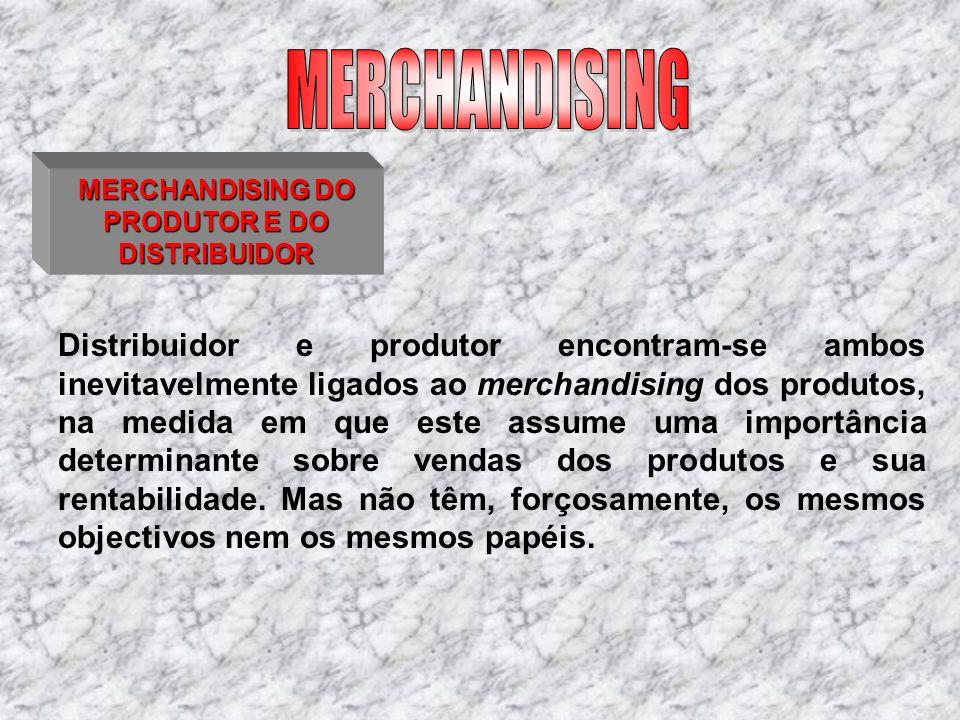MERCHANDISING DO PRODUTOR E DO DISTRIBUIDOR Distribuidor e produtor encontram-se ambos inevitavelmente ligados ao merchandising dos produtos, na medid