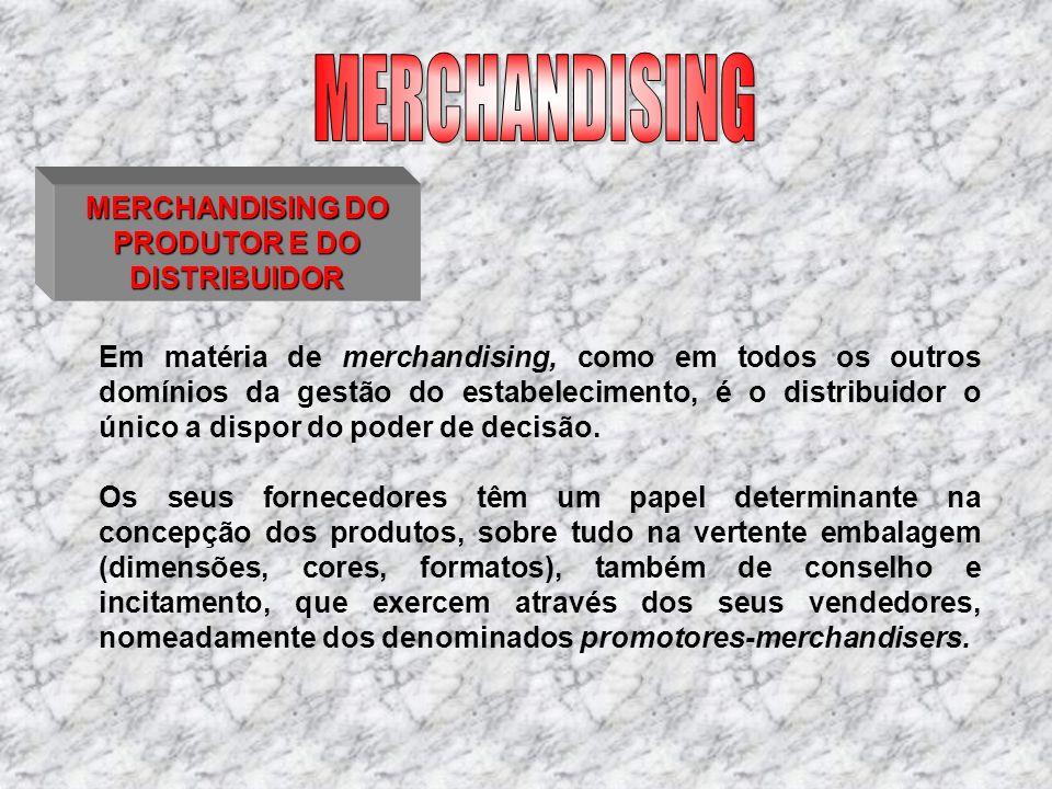 MERCHANDISING DO PRODUTOR E DO DISTRIBUIDOR Em matéria de merchandising, como em todos os outros domínios da gestão do estabelecimento, é o distribuid