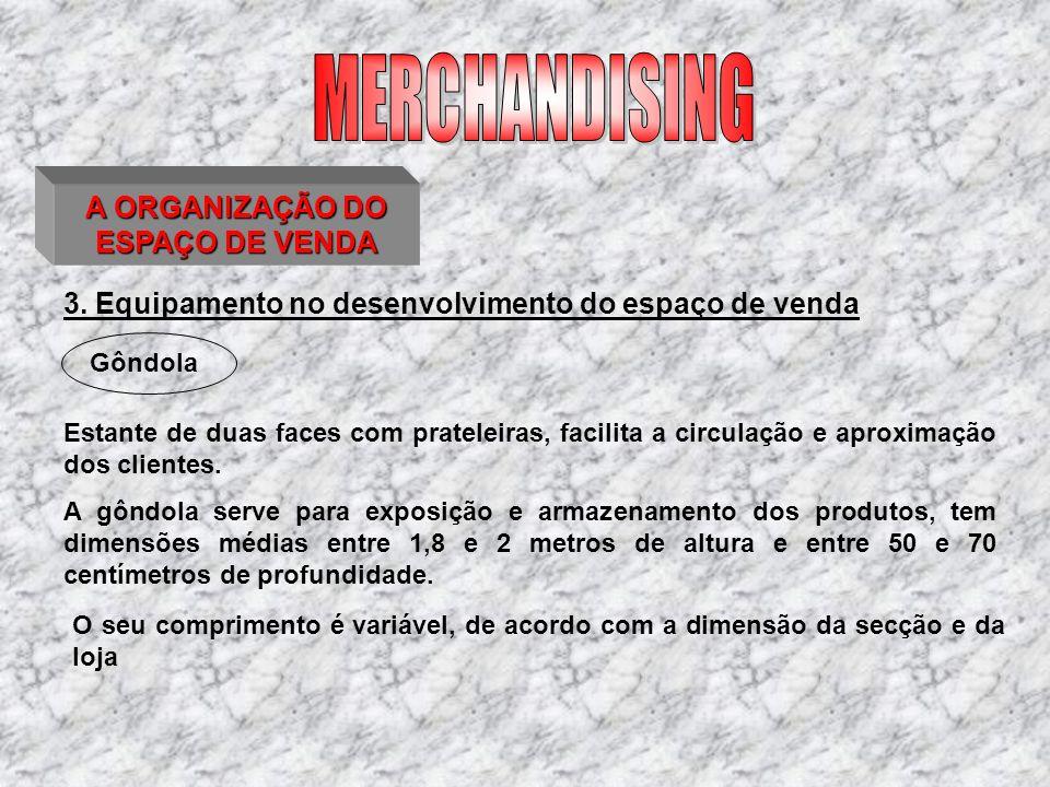3. Equipamento no desenvolvimento do espaço de venda Estante de duas faces com prateleiras, facilita a circulação e aproximação dos clientes. Gôndola