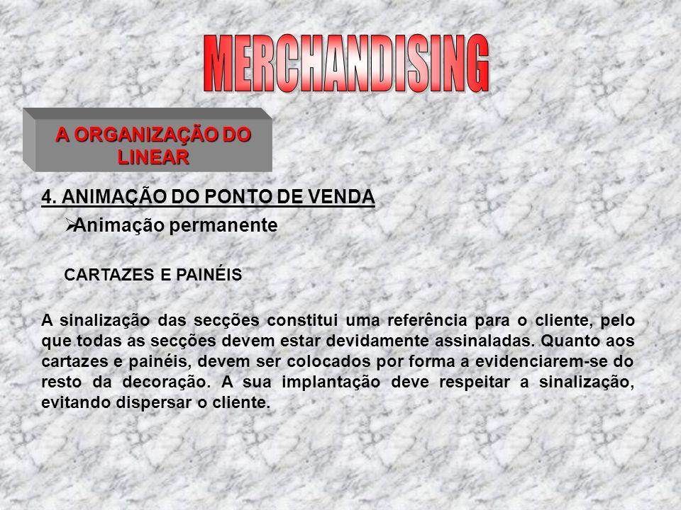 4. ANIMAÇÃO DO PONTO DE VENDA A ORGANIZAÇÃO DO LINEAR CARTAZES E PAINÉIS A sinalização das secções constitui uma referência para o cliente, pelo que t