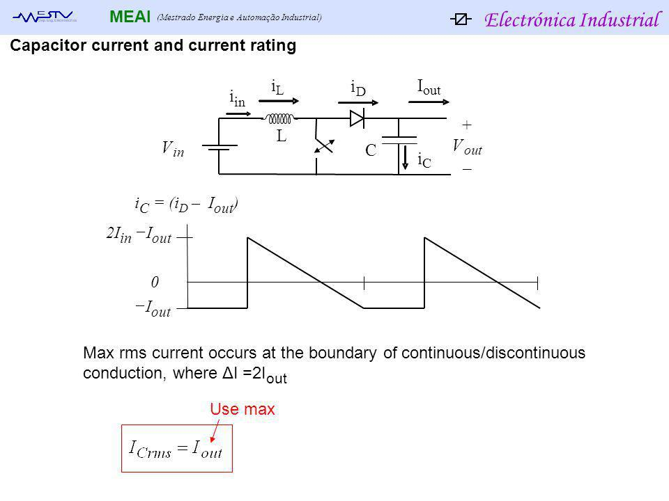 Electrónica Industrial MEAI (Mestrado Energia e Automação Industrial) Capacitor current and current rating 2I in I out I out 0 Max rms current occurs