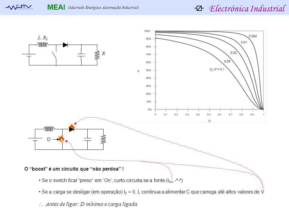 Electrónica Industrial MEAI (Mestrado Energia e Automação Industrial) L, R L R O boost é um circuito que não perdoa ! Se o switch ficar preso em On, c