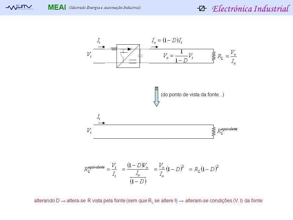 Electrónica Industrial MEAI (Mestrado Energia e Automação Industrial) (do ponto de vista da fonte...) alterando D altera-se R vista pela fonte (sem qu