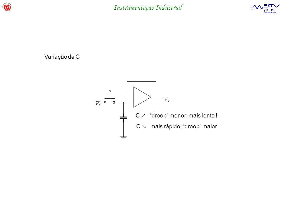 Instrumentação Industrial Dep. Eng. Electrotécnica ViVi VoVo C droop menor; mais lento ! C mais rápido; droop maior Variação de C