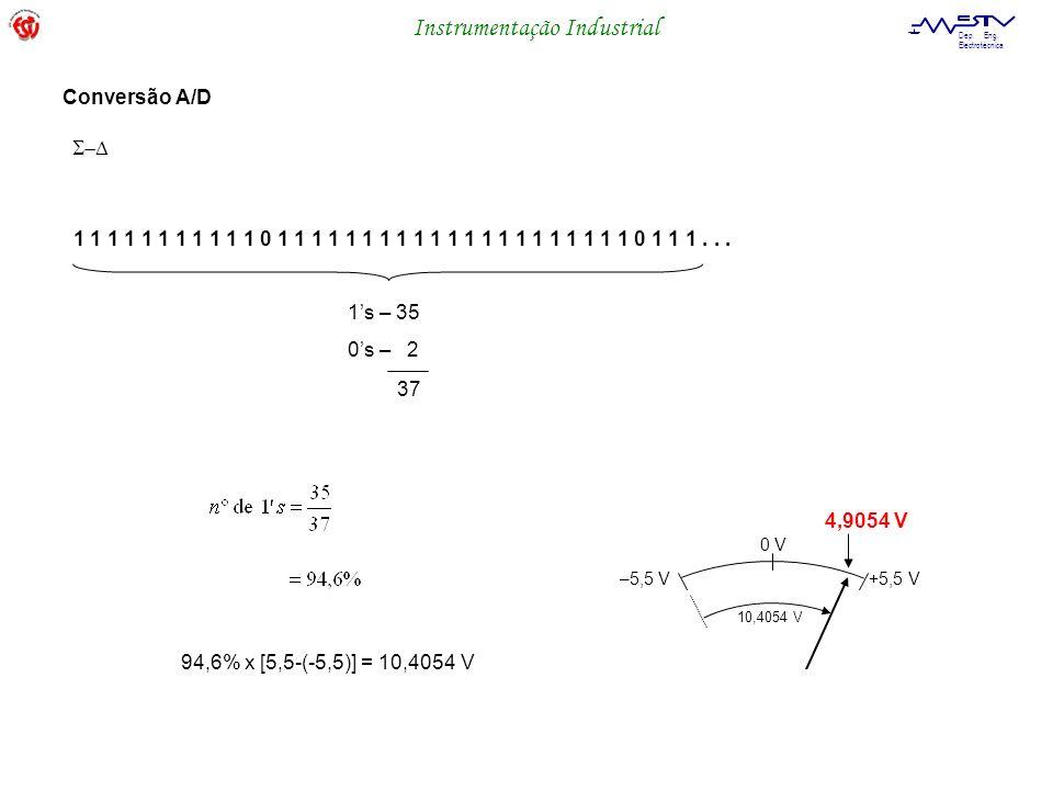 Instrumentação Industrial Dep. Eng. Electrotécnica 1 1 1 1 1 1 1 1 1 1 1 0 1 1 1 1 1 1 1 1 1 1 1 1 1 1 1 1 1 1 1 1 1 0 1 1 1... 1s – 35 0s – 2 37 –5,5