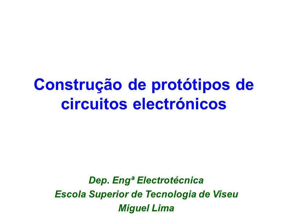 22 Objectivos Montagem de circuitos electrónicos em placas brancas (Breadboards ) Prática com a tecnologia wire wrapping Soldadura (e desoldadura) de componentes