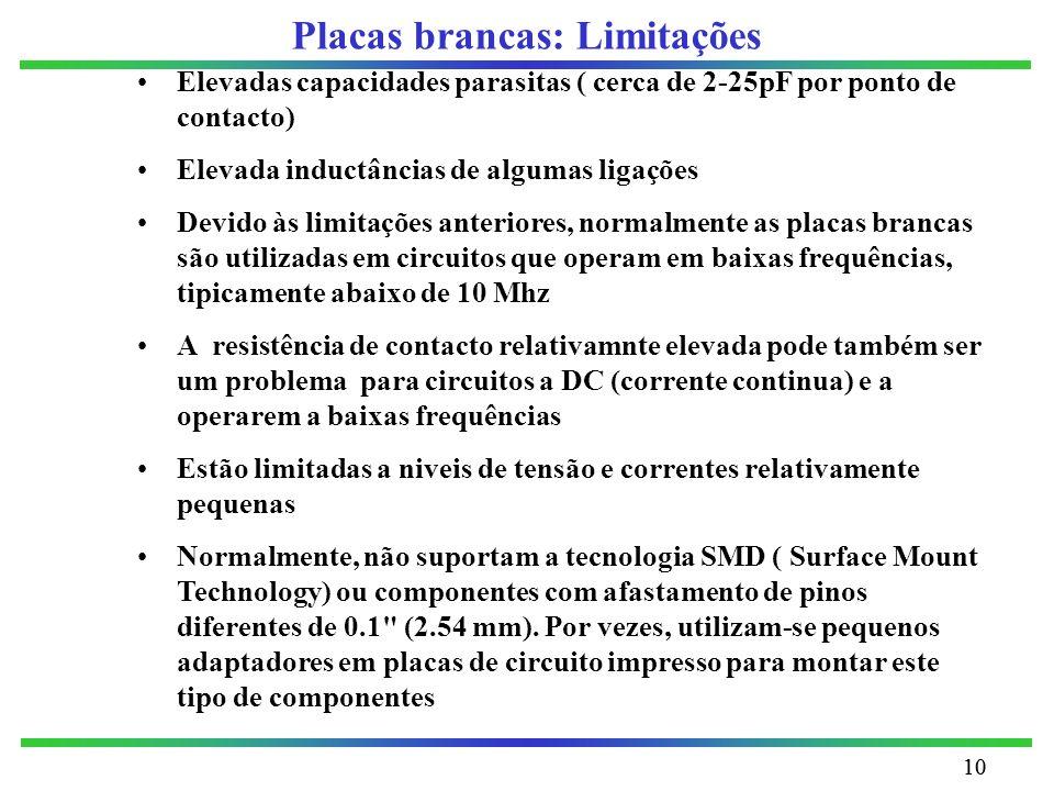 10 Placas brancas: Limitações Elevadas capacidades parasitas ( cerca de 2-25pF por ponto de contacto) Elevada inductâncias de algumas ligações Devido