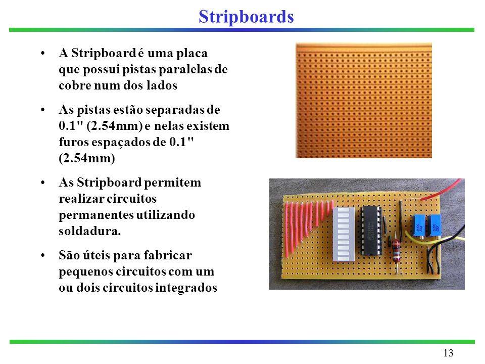 13 Stripboards A Stripboard é uma placa que possui pistas paralelas de cobre num dos lados As pistas estão separadas de 0.1