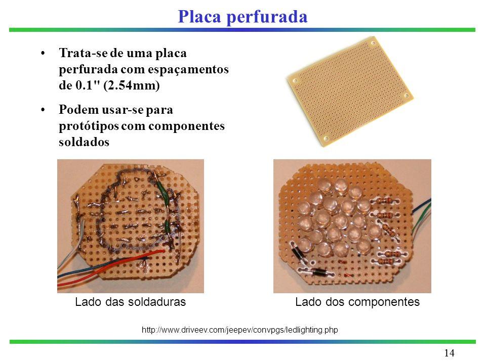 14 Placa perfurada Trata-se de uma placa perfurada com espaçamentos de 0.1