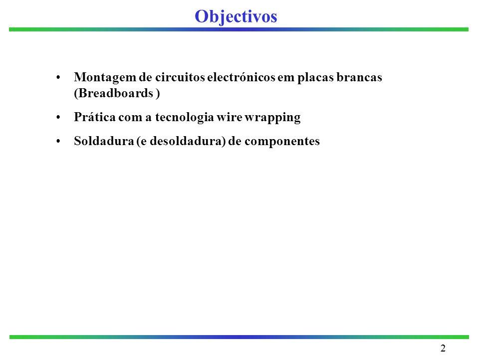 22 Objectivos Montagem de circuitos electrónicos em placas brancas (Breadboards ) Prática com a tecnologia wire wrapping Soldadura (e desoldadura) de