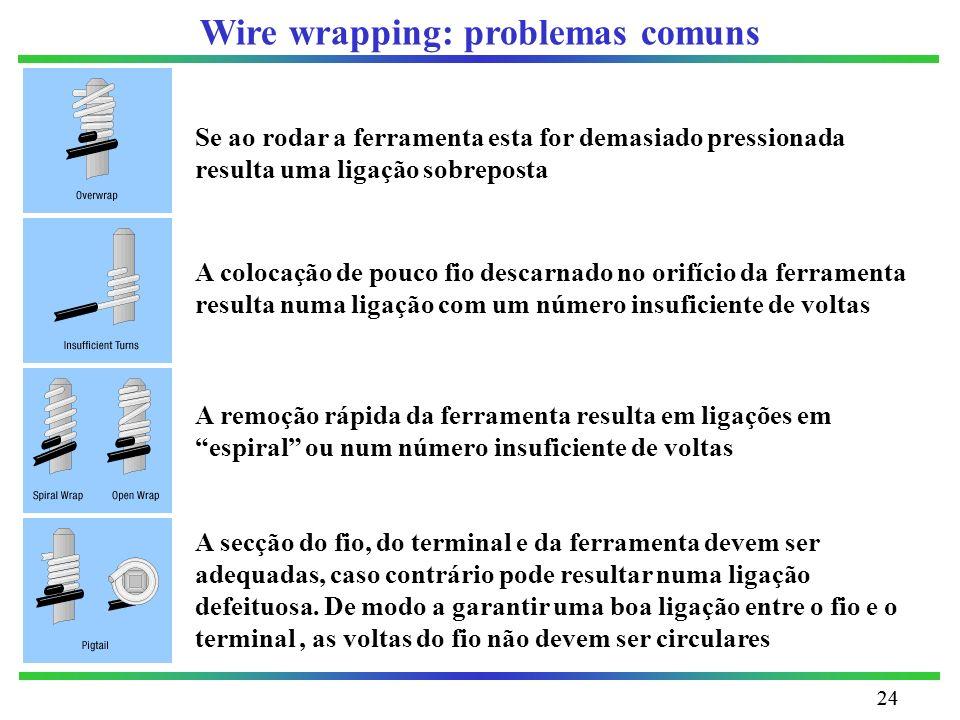 24 Wire wrapping: problemas comuns Se ao rodar a ferramenta esta for demasiado pressionada resulta uma ligação sobreposta A colocação de pouco fio des