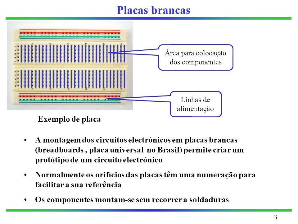 33 Placas brancas A montagem dos circuitos electrónicos em placas brancas (breadboards, placa universal no Brasil) permite criar um protótipo de um ci