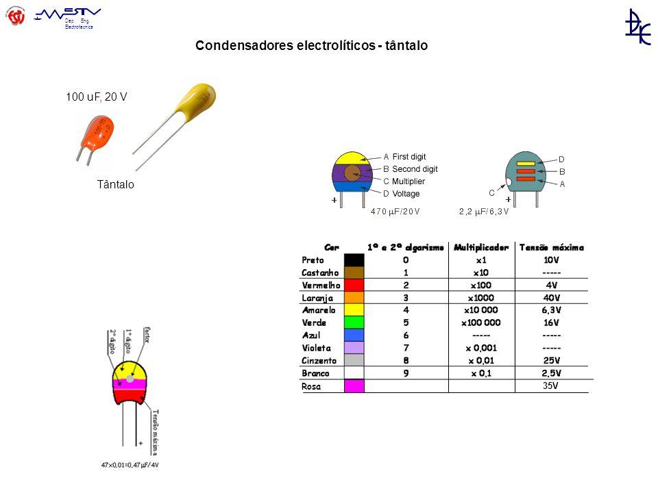 Dep. Eng. Electrotécnica Tântalo 100 uF, 20 V Condensadores electrolíticos - tântalo Rosa 35V