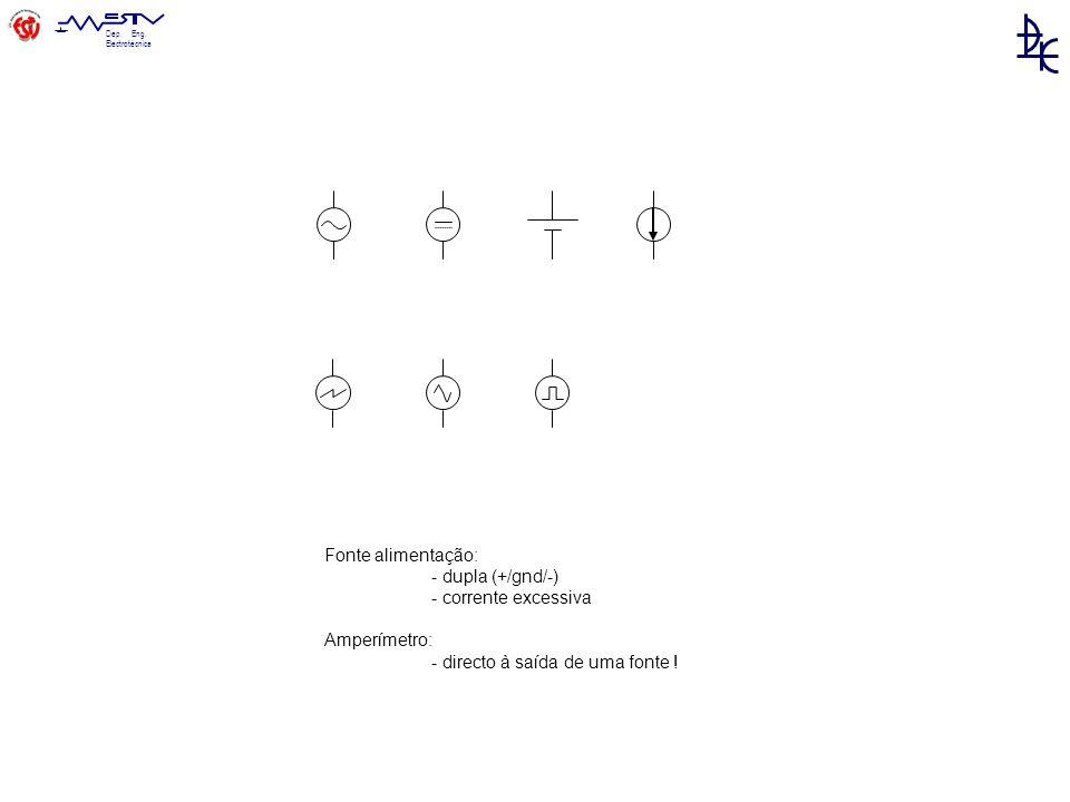 Dep. Eng. Electrotécnica Fonte alimentação: - dupla (+/gnd/-) - corrente excessiva Amperímetro: - directo à saída de uma fonte !