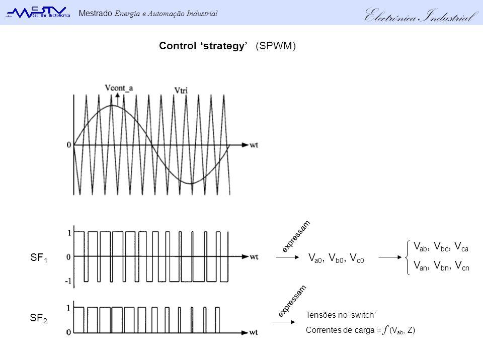 Electrónica Industrial Mestrado Energia e Automação Industrial SF 1 SF 2 Control strategy(SPWM) V a0, V b0, V c0 V ab, V bc, V ca V an, V bn, V cn expressam Tensões no switch Correntes de carga = f (V ab, Z)