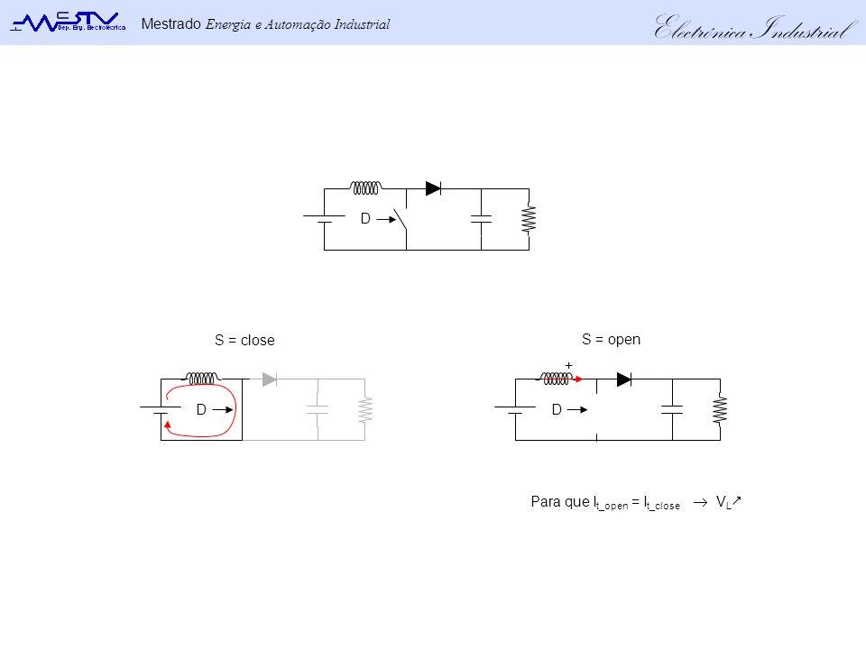 Electrónica Industrial Mestrado Energia e Automação Industrial V in V out 0ViLiL i in I out iCiC iLiL i in I out i C = I L – I out V in – V out V in ON (DT s) OFF ((1-D)T s) A tensão média na bobine é zero: