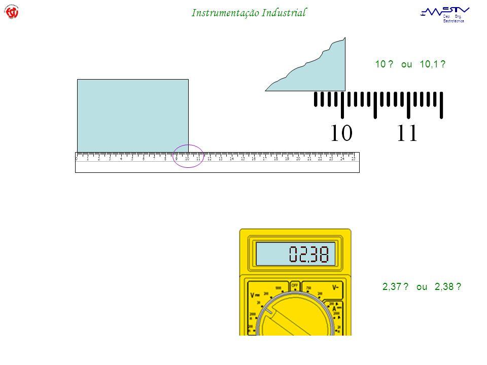 Instrumentação Industrial Dep. Eng. Electrotécnica 012345678910111213141516171819202122232425 10 ? ou 10,1 ? 2,37 ? ou 2,38 ?