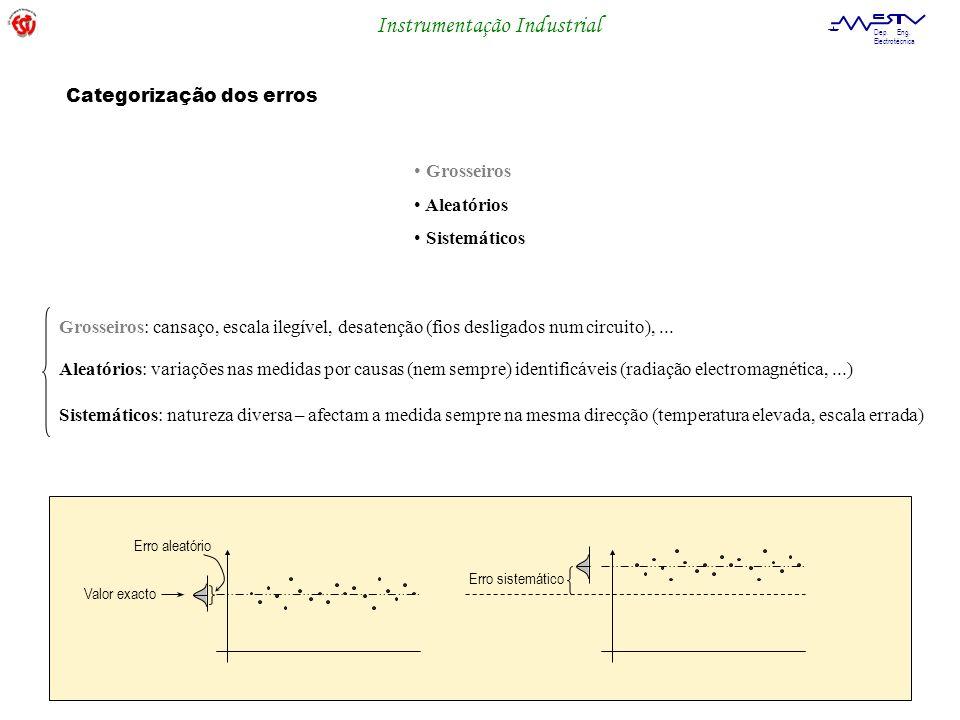 Instrumentação Industrial Dep. Eng. Electrotécnica Grosseiros Aleatórios Sistemáticos Categorização dos erros Grosseiros: cansaço, escala ilegível, de