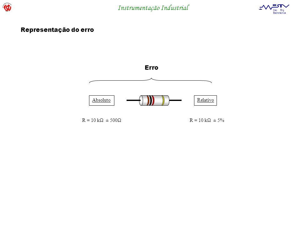Instrumentação Industrial Dep. Eng. Electrotécnica Erro AbsolutoRelativo R = 10 k ± 500 R = 10 k ± 5% Representação do erro