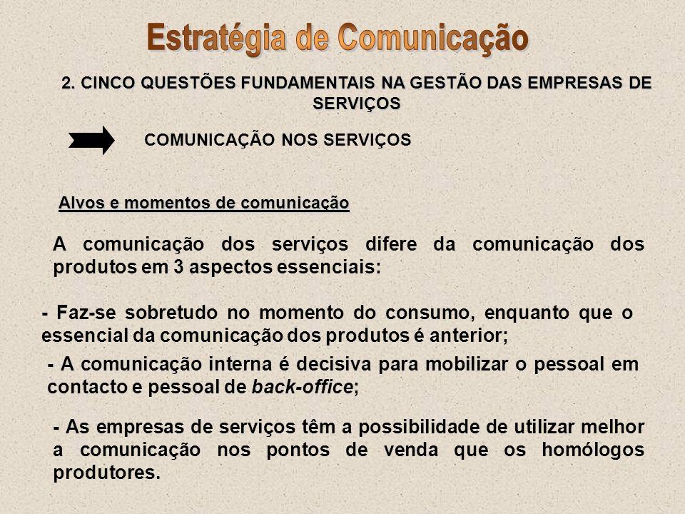 COMUNICAÇÃO NOS SERVIÇOS Alvos e momentos de comunicação A comunicação dos serviços difere da comunicação dos produtos em 3 aspectos essenciais: - Faz