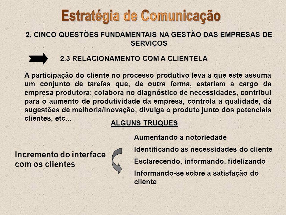 2. CINCO QUESTÕES FUNDAMENTAIS NA GESTÃO DAS EMPRESAS DE SERVIÇOS 2.3 RELACIONAMENTO COM A CLIENTELA A participação do cliente no processo produtivo l