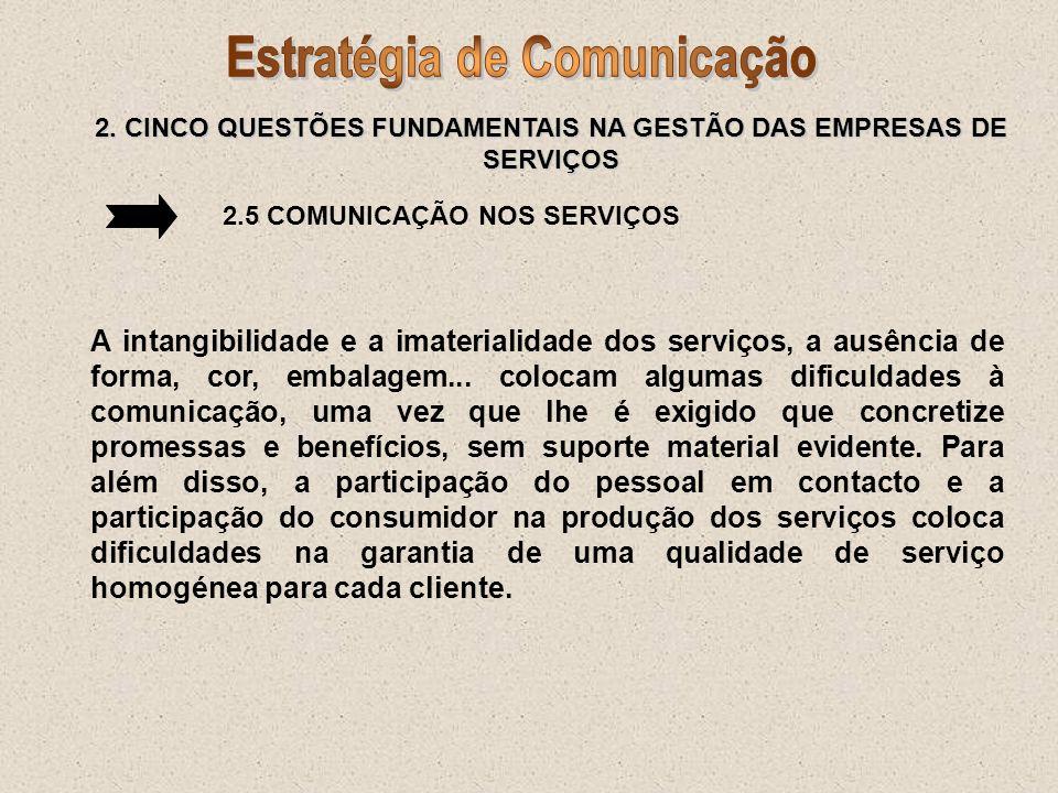 2. CINCO QUESTÕES FUNDAMENTAIS NA GESTÃO DAS EMPRESAS DE SERVIÇOS 2.5 COMUNICAÇÃO NOS SERVIÇOS A intangibilidade e a imaterialidade dos serviços, a au