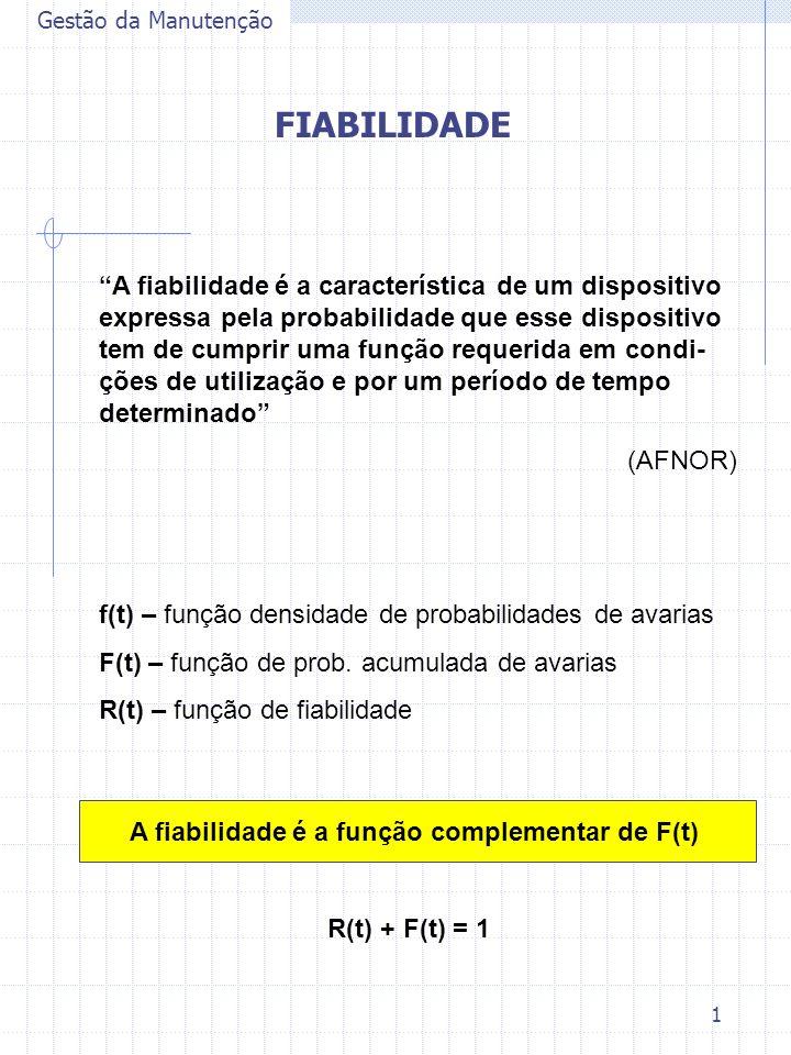 1 Gestão da Manutenção FIABILIDADE A fiabilidade é a característica de um dispositivo expressa pela probabilidade que esse dispositivo tem de cumprir