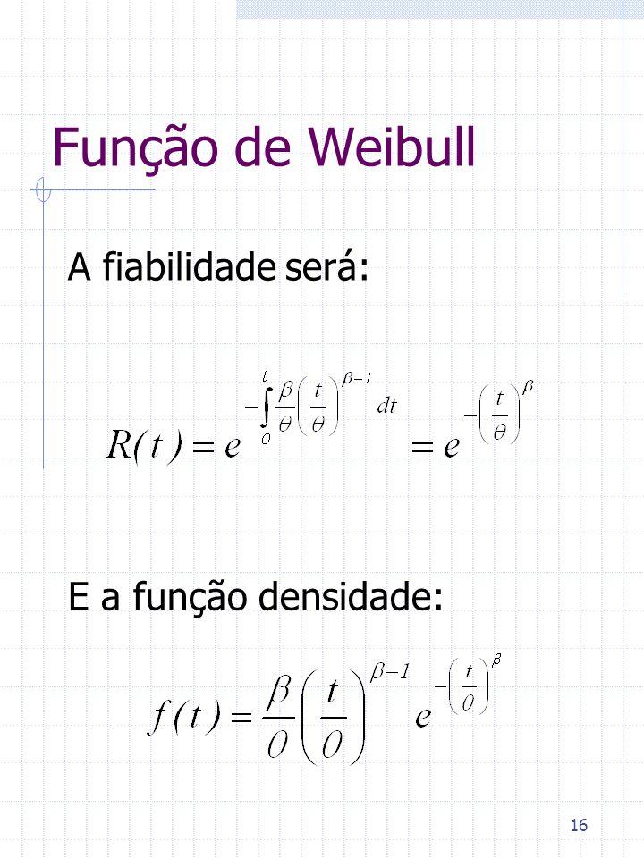 16 Função de Weibull A fiabilidade será: E a função densidade: