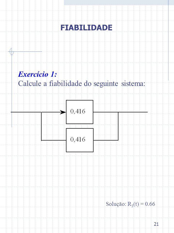 21 Exercício 1: Calcule a fiabilidade do seguinte sistema: Solução: R 3 (t) = 0.66 FIABILIDADE