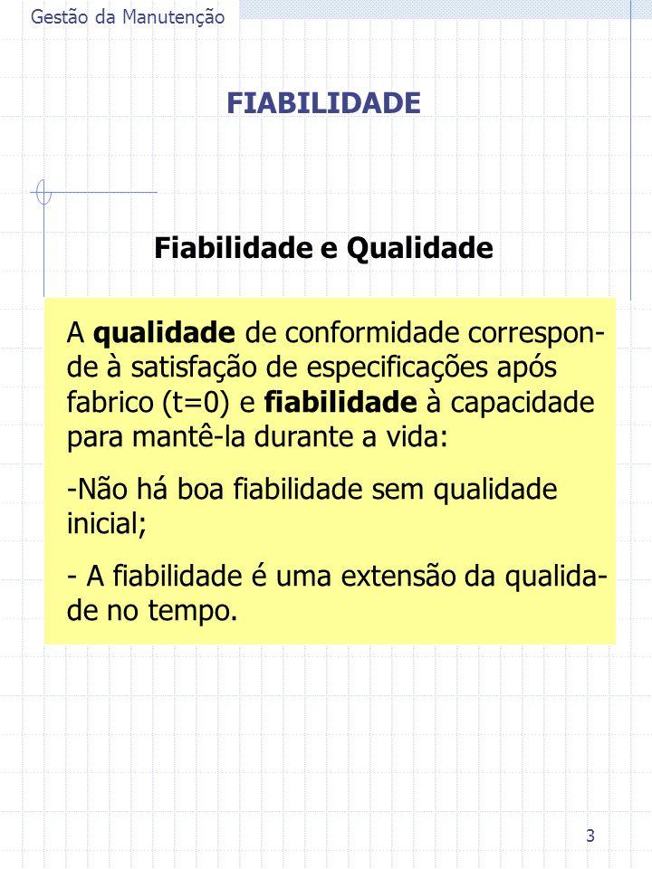 3 Gestão da Manutenção FIABILIDADE Fiabilidade e Qualidade A qualidade de conformidade correspon- de à satisfação de especificações após fabrico (t=0)