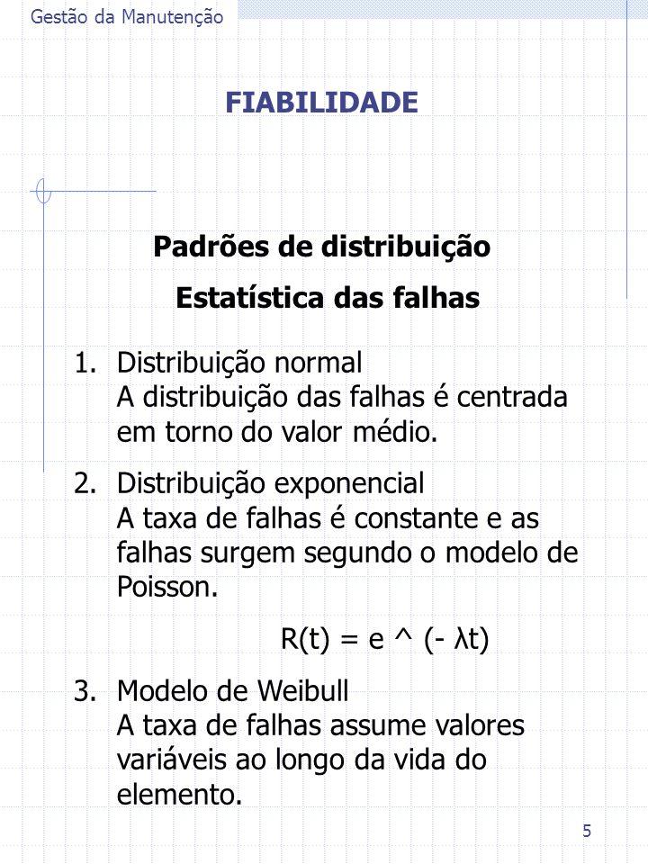 5 Gestão da Manutenção FIABILIDADE Padrões de distribuição Estatística das falhas 1.Distribuição normal A distribuição das falhas é centrada em torno