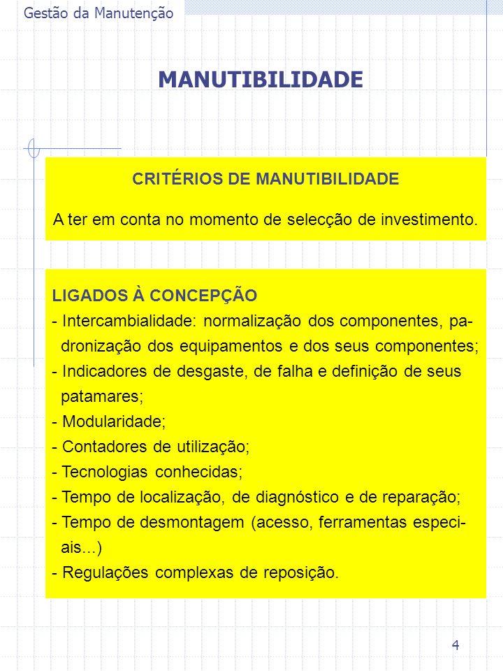 5 Gestão da Manutenção MANUTIBILIDADE LIGADOS À GESTÃO DO UTILIZADOR - Homogeneidade do parque tecnólogico; - Configuração do layout; - Meios de manutenção.