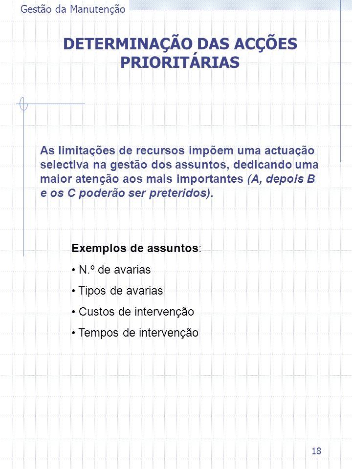 18 Gestão da Manutenção DETERMINAÇÃO DAS ACÇÕES PRIORITÁRIAS Exemplos de assuntos: N.º de avarias Tipos de avarias Custos de intervenção Tempos de int